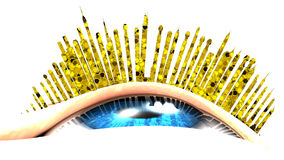 Urban vision with eyelashes covered with shining powder. Stock Photos