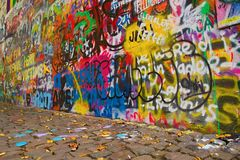 Urban wall with drawings in Prague Stock Images