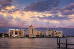 Urban Waterfront Buildings at Sunset Stock Photography