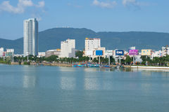 Urban waterfront of the Han river, sunny day. Danang, Vietnam Royalty Free Stock Photos