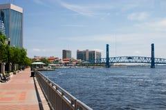 Urban waterfront walkway Stock Photo