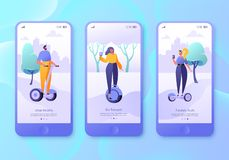 Urban weekend mobile app page, screen set. Flat design characters of men and women with hover boards. Outdoor concept for website. Concept of landing page on vector illustration