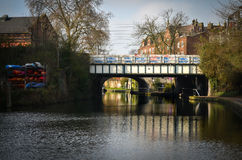 Urban whaterway in london with weeping willow Royalty Free Stock Images
