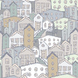 Urban winter landscape seamless pattern. Sketch. Gray, blue. illustration Royalty Free Stock Image
