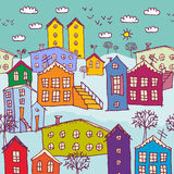 Urban winter landscape seamless pattern. Sketch. Royalty Free Stock Images