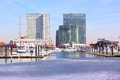 Urban winter scene of Inner Harbor in Baltimore. stock photos
