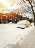 Urban winter street in sunset. Montreal, Quebec, Canada Stock Photography