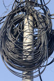 Urban wires. Coils of wires on an electric pillar in Bucharest, Romania Royalty Free Stock Images