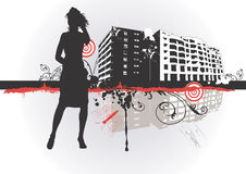 Urban woman. Ilustration of a woman and urban buildings Stock Photos