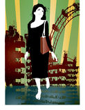 Urban woman. Illustration of pretty woman walking with urban background vector illustration