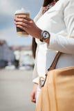 Urban woman drinking coffee Stock Photography
