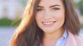 Urban woman portrait confident smiling woman city stock footage