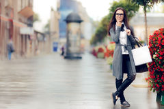 Urban  Woman With Shopping Bags Outside Royalty Free Stock Photography