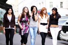 Urban women. Portrait of five urban women outside Royalty Free Stock Photos