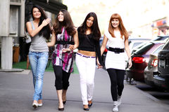 Urban women. Urban fashion four women outdoor Stock Image