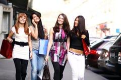 Urban women. Urban fashion four women outdoor Royalty Free Stock Images