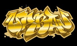 Urban word in golden graffiti style Royalty Free Stock Photo