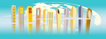 Urban world. Abstract illustration of the urban jungle with its high risers and skyscrapers Stock Photography