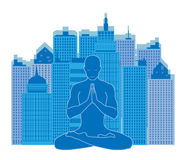 Urban yoga. Man of yoga meditating on urban background in blue color Royalty Free Stock Photography