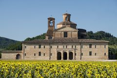 Urbania Marches, Italy: old farm. Urbania Montefeltro, Pesaro Urbino, Marches, Italy. Historic farm and field of sunflowers Stock Images
