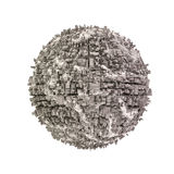 Urbanisierter Planet der Zusammenfassung auf einem weißen Hintergrund Stockfoto