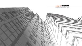 Urbanistic摩天大楼 抽象3D回报大厦导线框架结构 传染媒介建筑图表想法为 库存例证