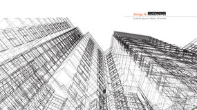 Free Urbanistic Skyscraper. Abstract 3D Render Of Building Wire Frame Structure. Construction Graphic Idea For Template Royalty Free Stock Photos - 77539348