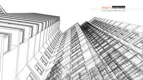 Urbanistische wolkenkrabber Abstracte 3D geeft van de bouw van de structuur van het draadkader terug Vectorbouw grafisch idee voo vector illustratie