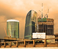 Urbanization. European office city under construction Stock Photo