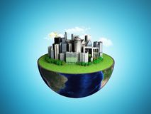 Urbanization concept with globe and city on abstract blue backgr. Ound 3D Rendering Royalty Free Stock Photo