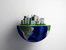 Urbanization concept with globe and city on abstract green backg Royalty Free Stock Images