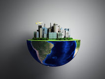 Urbanization concept with globe and city on abstract green backg Royalty Free Stock Photos
