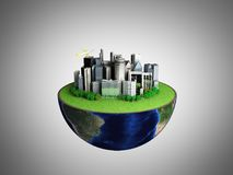 Urbanization concept with globe and city on abstract grey backgr. Ound 3D Rendering Stock Photos