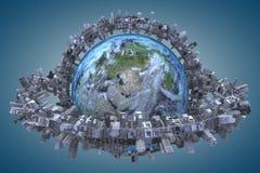 Urbanization Elements of this image furnished by NASA. Globe and urbanization. Elements of this image furnished by NASA stock illustration