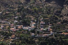 Urbanization on terraces at La Gomera, Canary Islands. Terrace development on the slopes of La Gomera, Canary island, Spain Royalty Free Stock Images