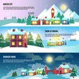 Urbano, cidade, bandeiras do vetor do inverno da arquitetura da cidade ajustadas Fotografia de Stock