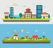 Urbano e villaggio abbellisce sul fondo della luce e del blu Immagini Stock Libere da Diritti