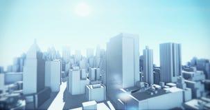 urbano 4k abstrato, voando sobre construções geométricas virtuais da cidade 3D, tecnologia da Web ilustração stock