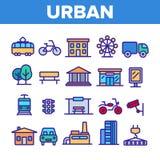 Urbano, linha fina grupo da vida urbana dos ?cones ilustração do vetor