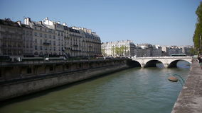 Urbanscape at river Seine in Paris, France stock footage