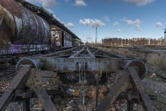 Urbex. Abandoned train car bumpers. In an abandoned train station Stock Photos