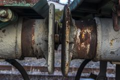 Urbex. Abandoned train car bumpers Stock Image