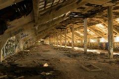 Urbex Prague part 4. Urban exploration factory in Prague - attic Stock Photo