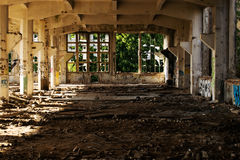 Urbex Prague part 3. Urban exploration factory in Prague - broken window Royalty Free Stock Photo