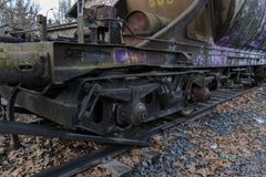 Urbex. Rusty and abandoned train cars. In an abandoned train station Stock Photos