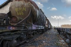 Urbex. Rusty and abandoned train cars. In an abandoned train station Stock Photo