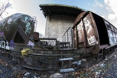 Urbex. Rusty and abandoned train cars. In an abandoned train station Stock Images