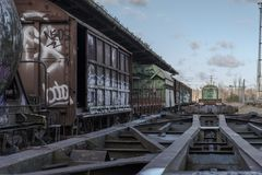 Urbex. Rusty and abandoned train cars. In an abandoned train station Royalty Free Stock Photos