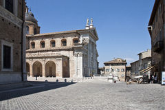 Urbino. A detail of the urbino's cathedral and square Royalty Free Stock Photos
