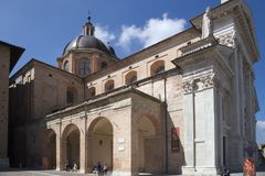 Urbino, art city of marche region, italy, europe. Urbino`s cathedral, ancient Church, in urbino, marche region, in italy, europe Royalty Free Stock Photo